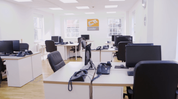 Edinburgh PR photo of Consider IT's Disaster Recovery Suite. Picture shows empty desks and chairs and desks.