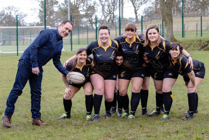 Derek Lawson of CALA with Currie Chieftains Women's Team | Edinburgh PR