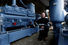 Image of Kevin Jepson standing in front of the first parts for Mackie's biomass freezer | food and drink PR