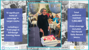 Social care PR graphic for Bield resident's 105th birthday