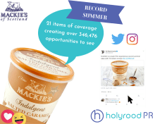 food and drink PR photography Mackie's summer of success coverage post graphic