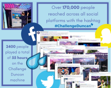 Digital PR photography Go Live! at the green, challenge Duncan social media coverge success post graphic