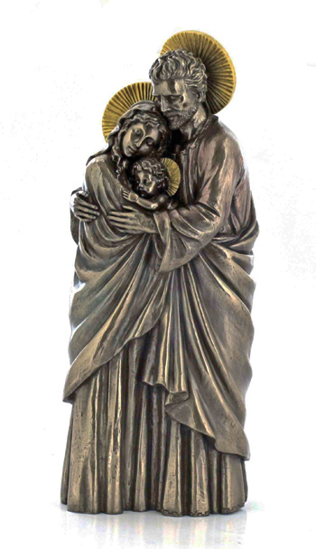 One Piece Holy Family in cold-cast bronze with gold details, 10inches Also available in white, see SR-75439-W