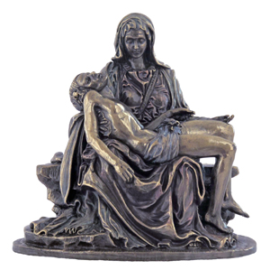 A beautiful Pieta, lightly hand-painted, cold-cast bronze, from the Veronese Collection, 5inches.