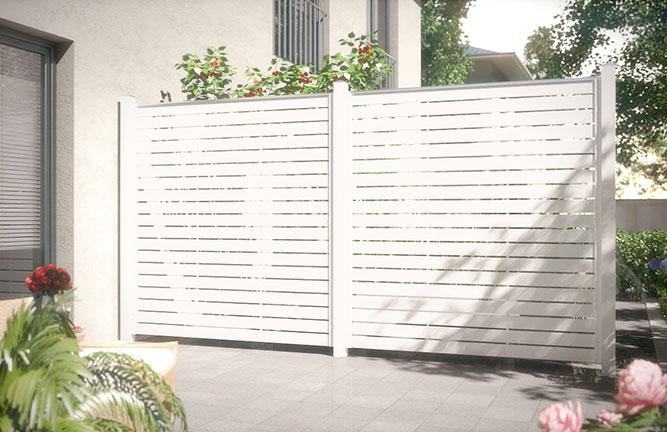 Sichtschutz-Zaun Novo, Fenster-Kunststoff, weiß