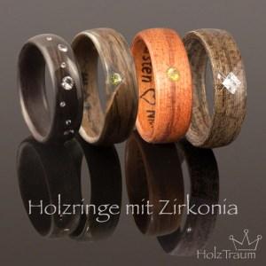 Holzringe mit Zirkonia