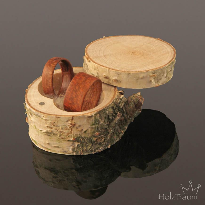 Birkenholz Ringdose natur für Holzringe, Bentwood Ringe