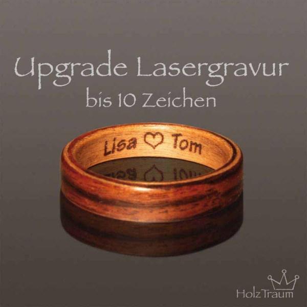 Lasergravur bis 10 Zeichen im Holzring Bentwood Ring