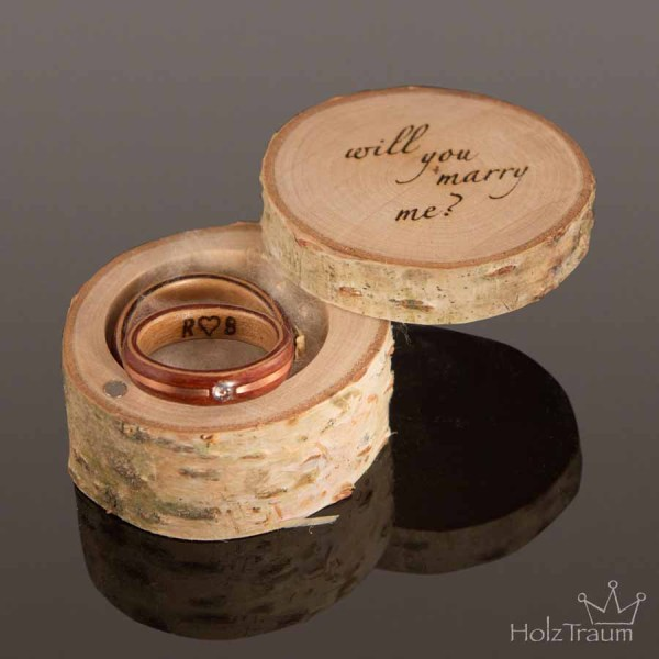 Ringdose Birkenholz mit Gravur will you marry me?