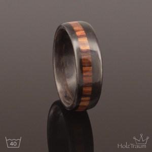 schwarzer Holzring Bentwoodring mit Inlay aus Rosenholz