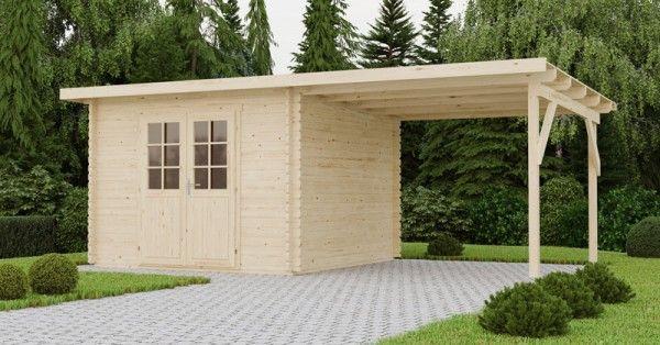 Gartenhaus Mit Anbau 590 X 300 Cm 40mm Blockhaus