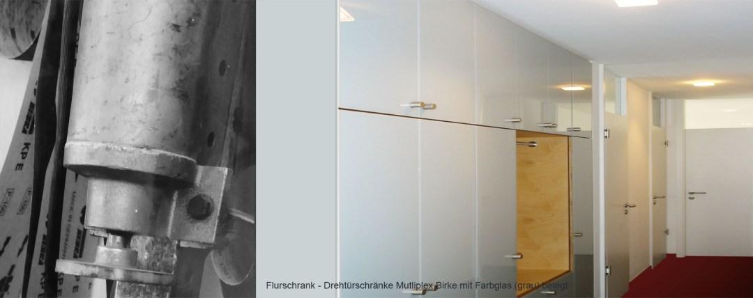 Drehtuerschrank Multiplex Farbglas grau