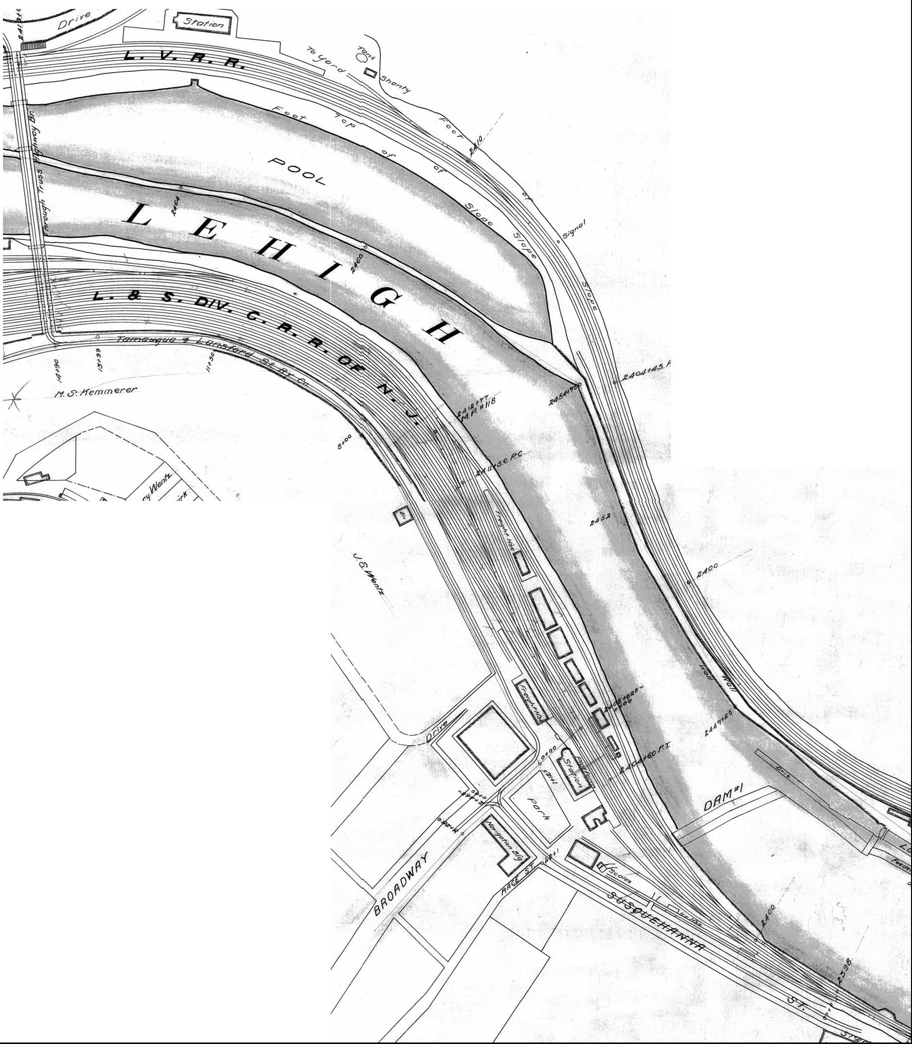 Cnj Plans Maps Track Diagrams Of Mauch Chunk Jim Thorpe