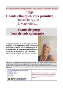 Marseille 5 juin. Chant de gorge/ jeux de voix spontanées