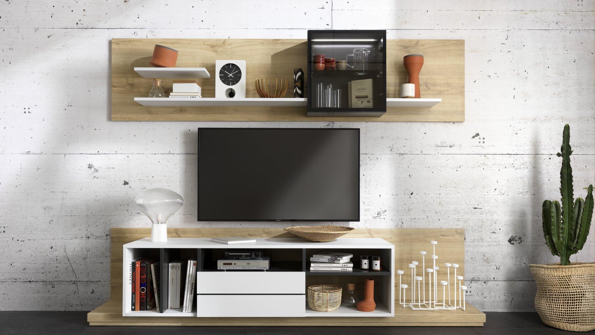meuble tv blanc et bois schmidt