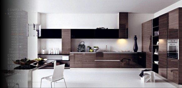 modern brown kitchen