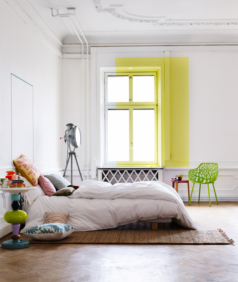 White bedroom yellow accent wall Rooms with a Dash of Color Splash