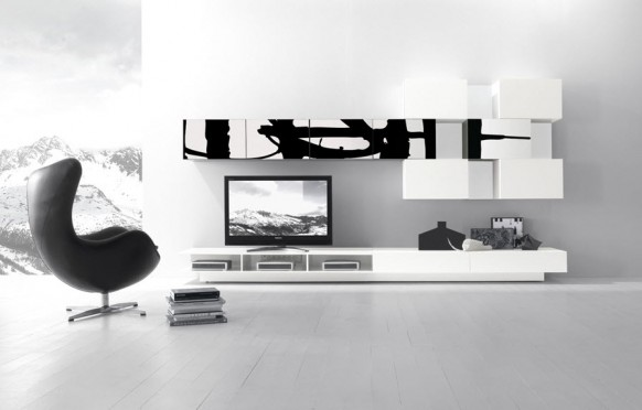 black white wall unit