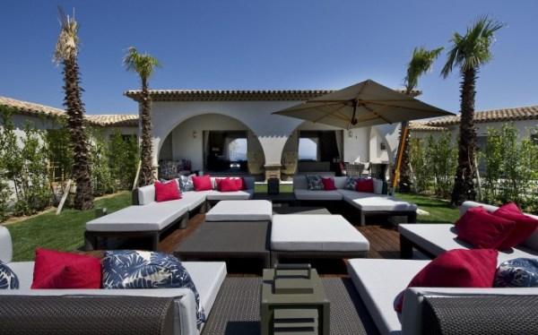 sunlit outdoor lounge