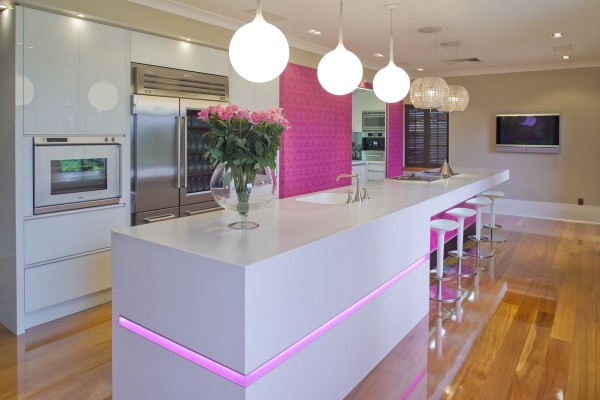 pink kitchen-white-counter