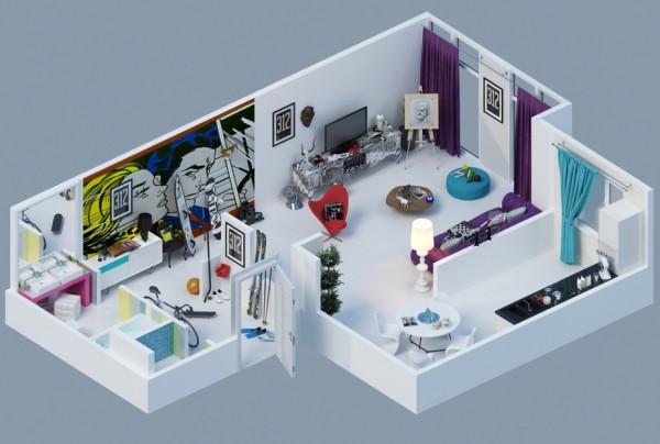 pop art apartment layout