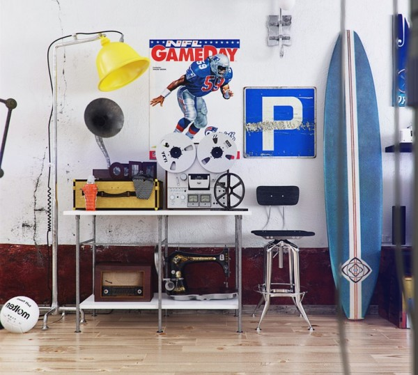 The funky media elements that Romi includes here speak to the theoretical occupant of this apartment. An old-fashioned movie projector, radio, record player - bringing vintage elements into a new and youthful space.