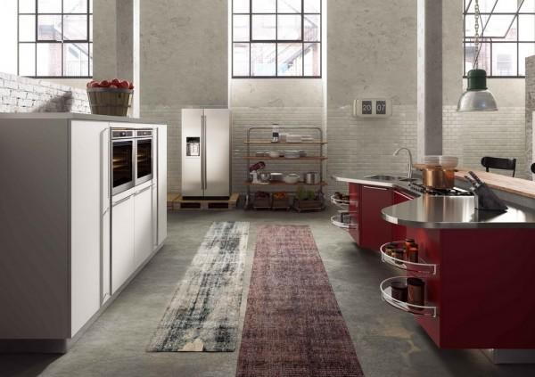 wine colored kitchen