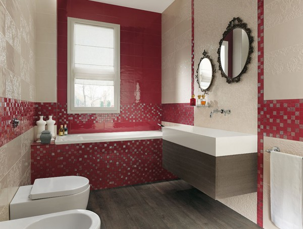 Red cream bathroom design