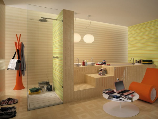 The zesty orange furniture in this one really work against the lime stripes, but we're not sure that promoting laptop use in the bathroom is the best idea–steam is not your laptop's friend!