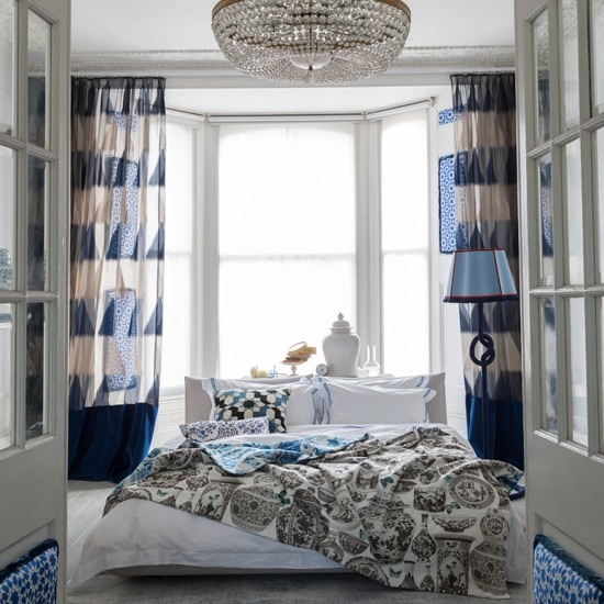 clip:ブルーxホワイト ベッドルーム