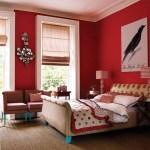 [clip]赤x白 力強い赤い壁の寝室