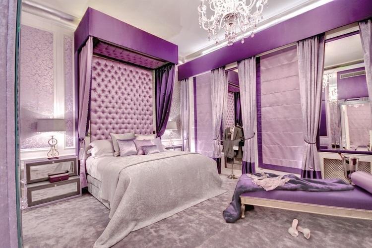 [clip]紫x白 パープルの濃淡で彩る寝室