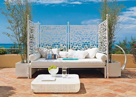 relax outdoors in a daybed
