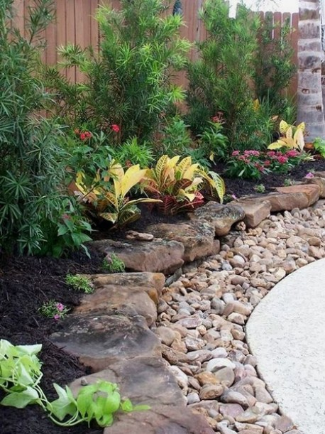 natural stone border for beds