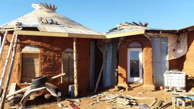 earthbag home pallet roof decking