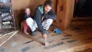 granite scraps soil-cement floor