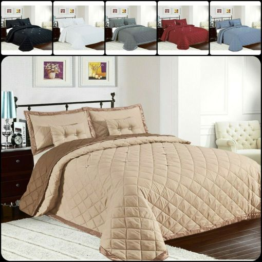 Diamond 5PS Quilted Bedspread Throw Single to S-King Size Bedding Comforter Set