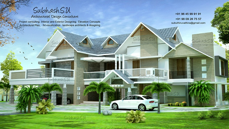 3200 Sq Ft Contemporary Double Floor Home Designs