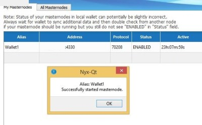NYX Masternode Started Successfully
