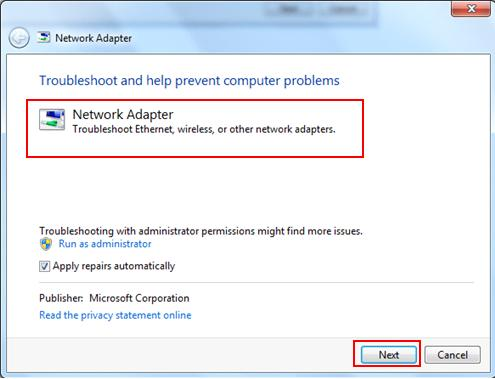 Fix Network Connection Error In Acer