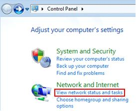 Windows 7 - view network status and tasks