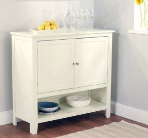 white dining room organization buffet