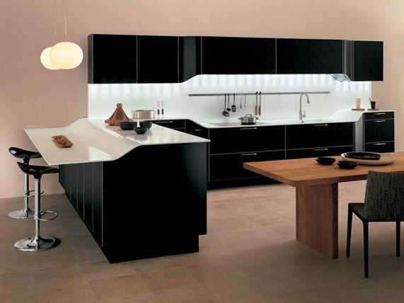 stylish kitchen with black cabinets