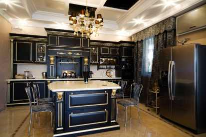 spectacular kitchen with stylish black cabinets