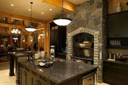 rustic kitchen with black cabinets
