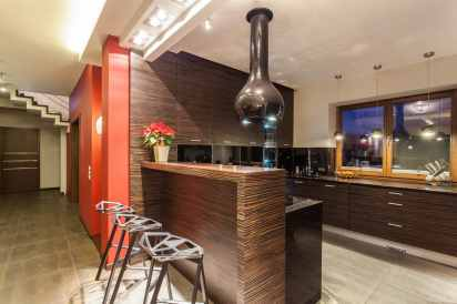 contemporary kitchen with bar stools that steal the show