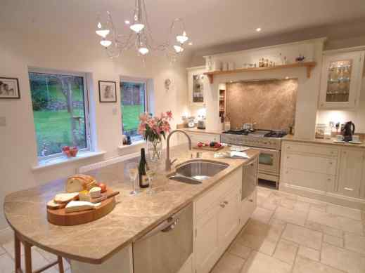 cream olive white kitchen with floor tiles