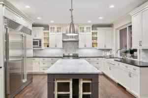 modern kitchen with gray and white color scheme that generates a balanced vibe