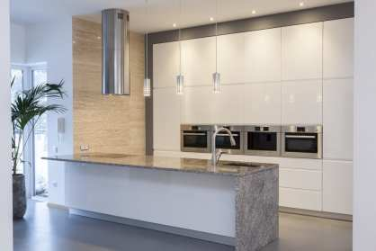 modern kitchen with natural colors of gray and white
