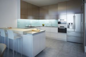 contemporary kitchen with gray shelves and appliances